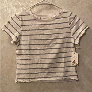 Glitz White/Grey Crop T-shirt S NWT